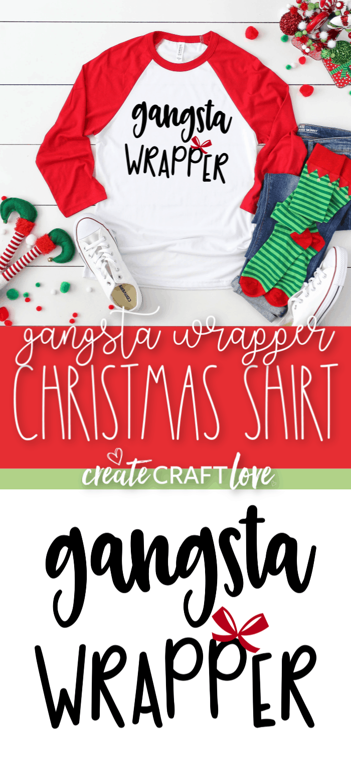Sport our cute Gangsta Wrapper Christmas Shirt while getting your gift wrap on this holiday season! #christmas #christmascrafts #cricut