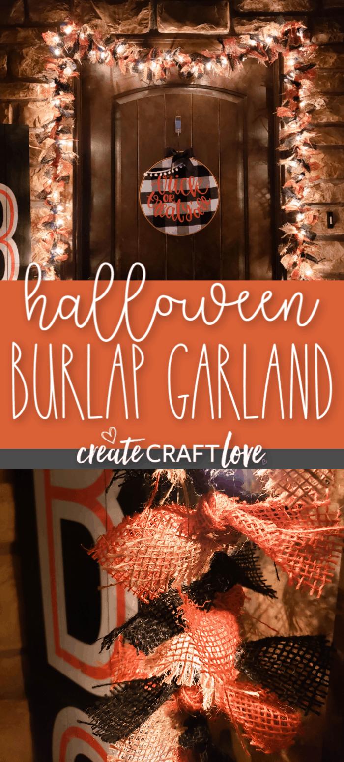 Halloween Burlap Garland #halloween #halloweendecor