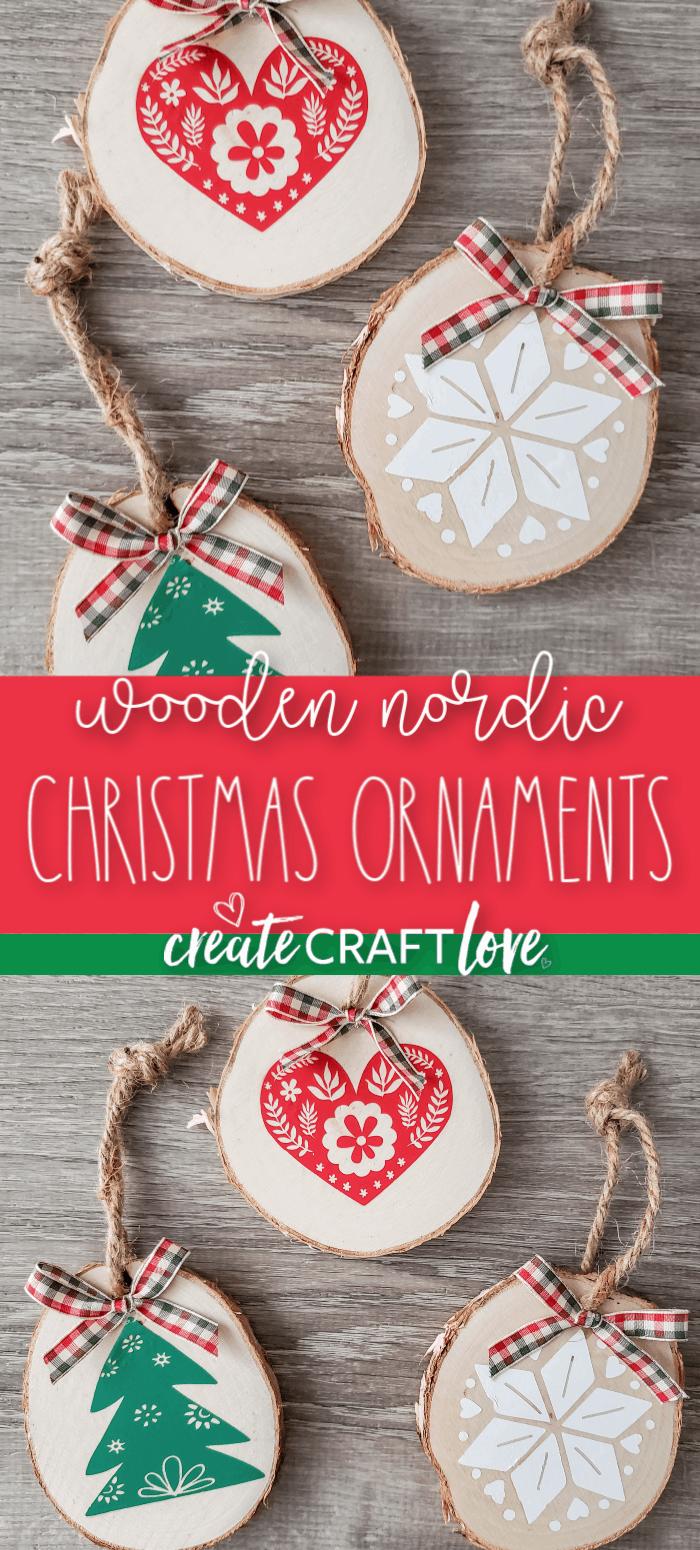 Wooden Nordic Christmas Ornaments #christmas #christmascrafts #cricut
