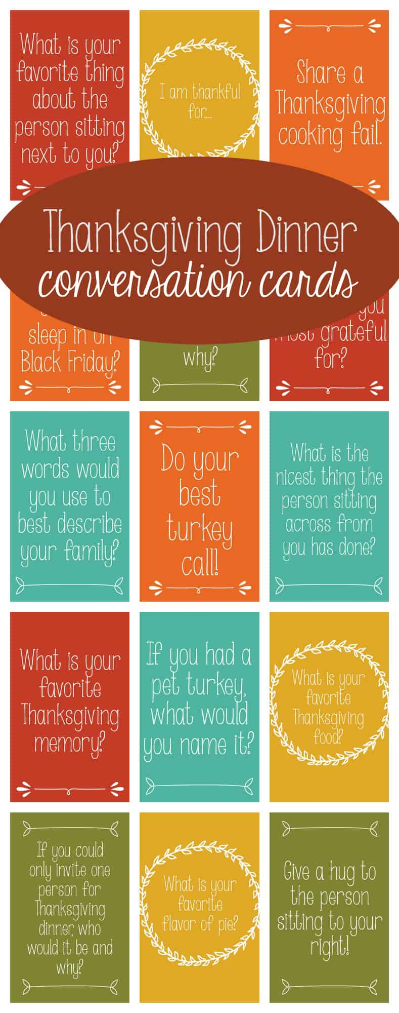 Start a new tradition this year with these Thanksgiving Dinner Conversation Starters!