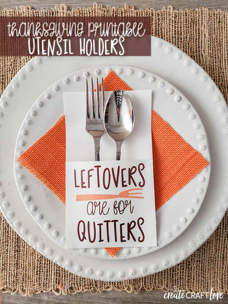 snarky thanksgiving printable utensil holders