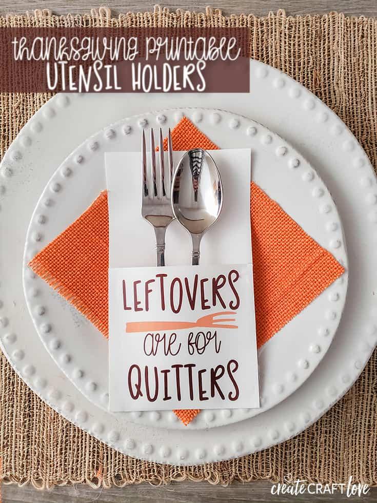 snarky thanksgiving printable utensil holders